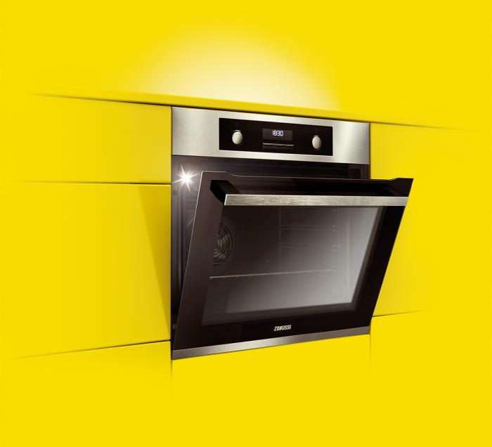 Built in oven in yellow wall