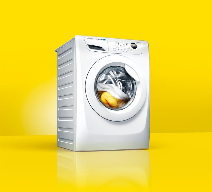 White washing machine against yellow background