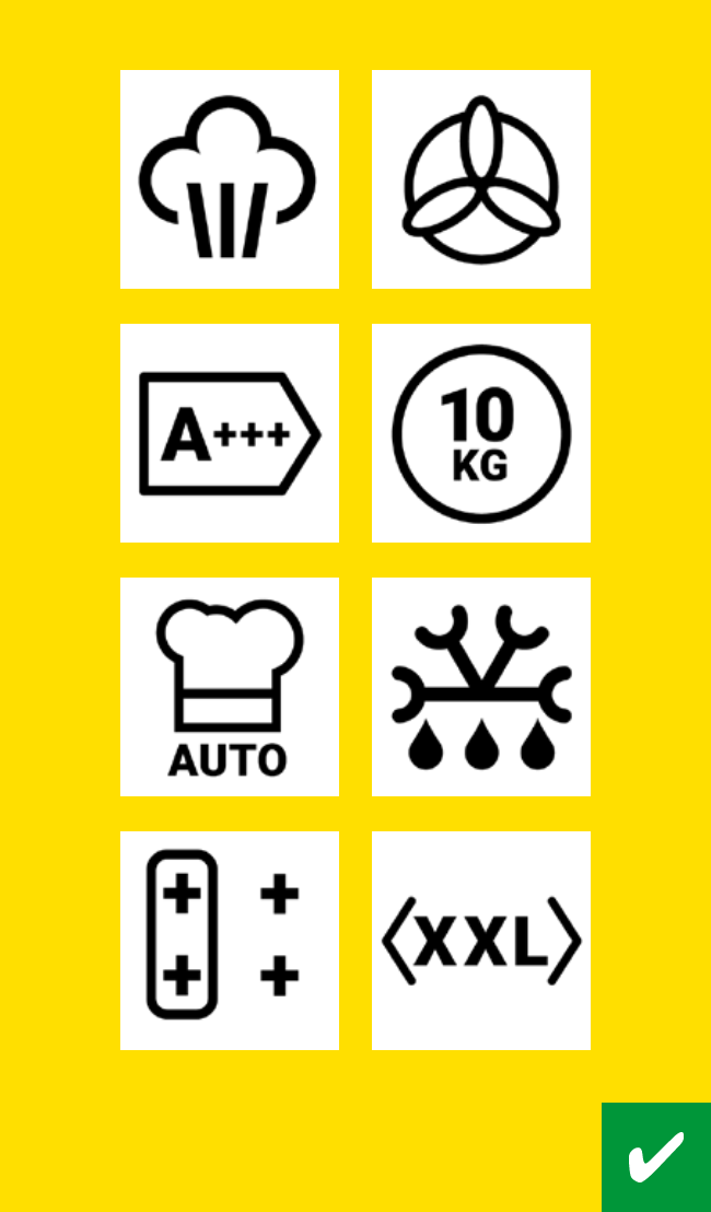 White icons on yellow background